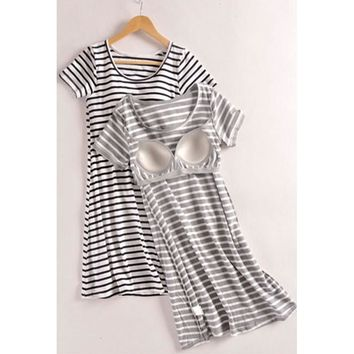 Cotton Stripe Sleeping Skirt with chest pad female summer loose modal avoid wearing bra short nightgowns