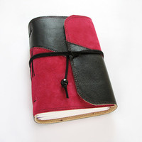 Ruby red and black leather journal, suede, sketchbook, art book, diary, 360 pages, blank unlined paper