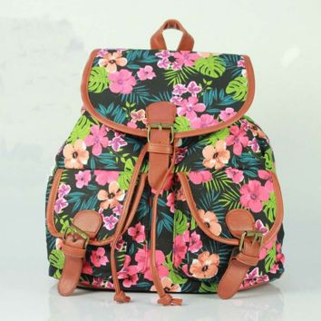 Cute Flower Leaves Print School Bag Canvas College Backpack Daypack