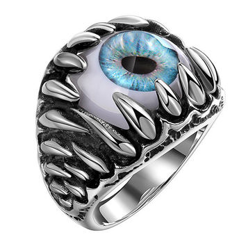 Retro Stainless Steel Punk Blue Evil Eye Band Ring