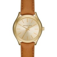 Michael Kors Women's Slim Runway Beige Luggage Leather Strap Watch 33mm Gift Set MK3427 | macys.com