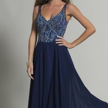 Beaded V-Neck Gown by Dave and Johnny