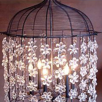 Birdcage Crystal and Iron Chandelier