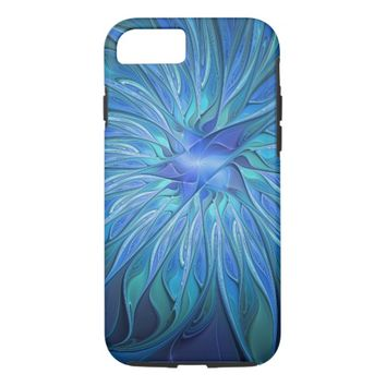 Blue Flower Fantasy Pattern, Abstract Fractal Art iPhone 8/7 Case