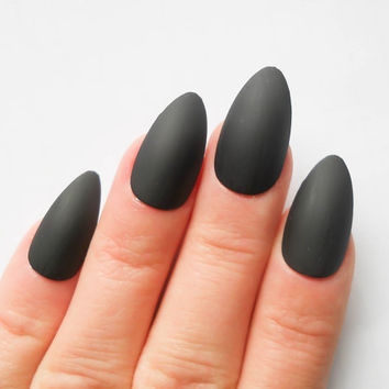Matte Black Stiletto Nails Fake Bl