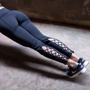 Compress Yoga Pants Women Tights Sport  Fitness Running Workout Leggings Quick Dry Elastic Trousers  Cutout Tie Cuff Slim Jogger