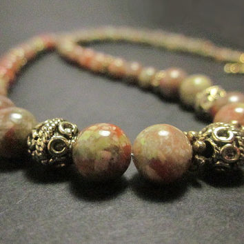 Autumn Jasper and Antiqued Gold Necklace - Pumpkin, Avocado, Red