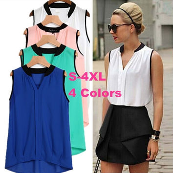 Women Casual Chiffon Blouse Blusas Femininas Plus Size O Neck Solid Color Sleeveless Shirt Camisa Preta De Renda LJ534DB = 5617223617