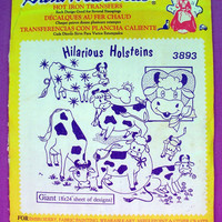 "Aunt Martha's ""Hilarious Holsteins"" Hot Iron Transfer Pattern 3893 for Embroidery, Fabric Painting, Needle Crafts"