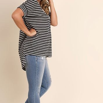 Women's Plus Striped High Low Top with Drawstring Neckline