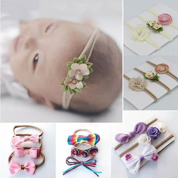 3pcs/set Mix Style Pearl Flower Ribbon Lace Hairband Baby Baby Girl Headband Elastic Hai band Children Hair Accessories