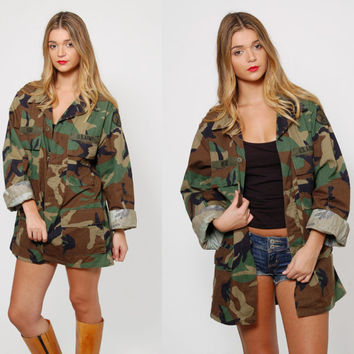 Vintage 90s CAMOUFLAGE Jacket Military Army Jacket Grunge Oversized Unisex FATIGUE Jacket Outerwear
