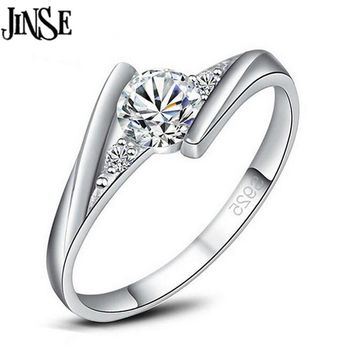 White Gold Color Cubic Zirconia Engagement Wedding Ring