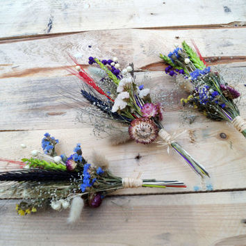 SET OF 3 SMALL Bridal bridesmaid bouquet, wedding bouquet, dried lavender dried flowers bouquet, wedding dried flowers, wild flowers bouquet