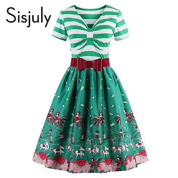 Sisjuly women patchwork stripe sleeves summer party dresses print flower with cute bow 1950s women dresses vintage dresses