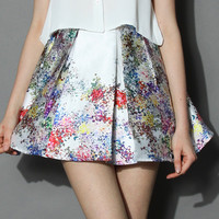 Pixel Flowers Pleated Skirt in Pearl-white  White