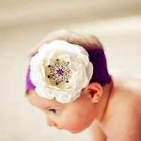 White Ruffle Ranuculus Flower with Huge by loveablebabyboutique