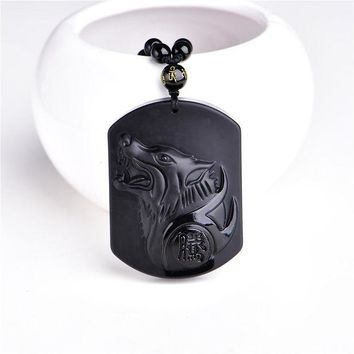 VONG2W Natural Black Obsidian Carving Wolf Head Amulet pendant free necklace obsidian Blessing Lucky pendants fashion Jewelry