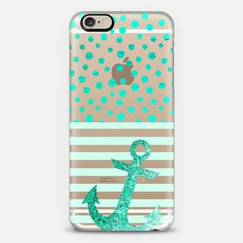 TEAL NAUTICAL GLITTER ANCHOR + DOTS - CRYSTAL CLEAR PHONE CASE iPhone 6 case by Nika Martinez | Casetify