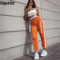 Rapwriter Fashion Panelled Letter Printed Buckle Stretch High Waist Pants Women 2018 Pencil Pants Streetwear Jogger Pants Bottom
