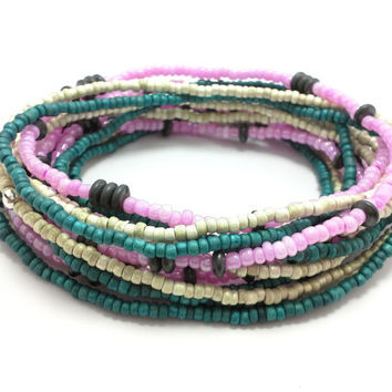 Seed bead wrap stretch bracelets, stacking, beaded, boho anklet, bohemian, stretchy stackable multi strand, teal pink white hematite black
