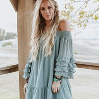 Serenity Off The Shoulder Tunic - Mint