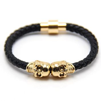 ZG 2017 Lastest 10 colors High Quality Magnetic Clasp Fashion Punk Genuine Leather Man Skull Bracelet for Man