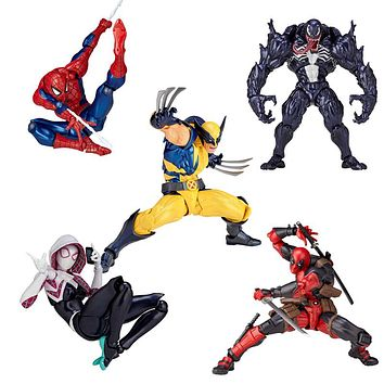 Marvel 16cm Series 001 002 003 Deadpool Venom Spiderman spider gwen wolverine Captain America Carnage PVC Action Figure Toy