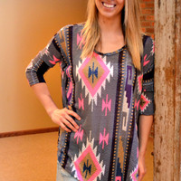 Purple Southwestern Tunic Top
