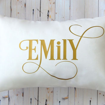 Metallic Gold Pillow, Name Pillow, Gold Monogram Pillow,  Personalized Pillow, Metallic Silver Pillow, Throw Pillow Cover, Nursery Decor