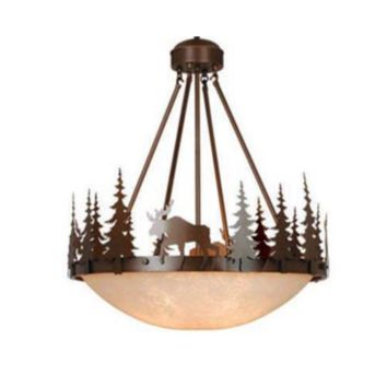 "Yellowstone 4-Light 24"" Burnished Bronze Pendant Light Rustic Log Cabin Lodge"