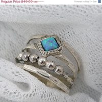 WEEKEND SALE OPAL ring Unique spheres sterling door STarLighTstudiO3