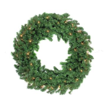 "48"" Pre-Lit Deluxe Windsor Pine Artificial Christmas Wreath - Clear Lights"