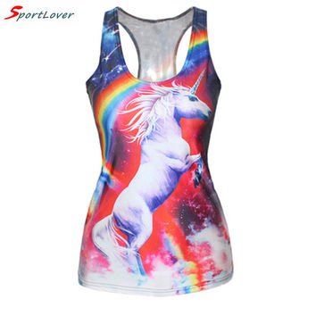 Sportlover 2016 Summer New Rainbow Unicorn Tank Top Women Sexy Sleeveless Shirt 3d Print Cat/Skull Vest Tank Tops Fitness