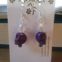Purple Skull and Moonstone Earrings