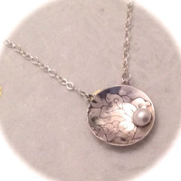 Lily and Pearl Etched Domed Pendant, Mother's Day, Grandma
