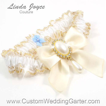 White and Ivory WEDDING GARTER Pearl Garter 112 White-871 Ivory Gold Prom Garter Plus Size & Queen Size Available too