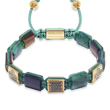 Women's CZ Flatbead Bracelet with African Green Jade, Matte Onyx, and Brown Tiger Eye