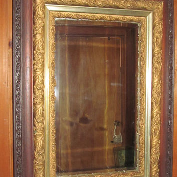 Antique Victorian Parlor Mirror Large Ornate Mirror Oak Gold Gilt Mirror