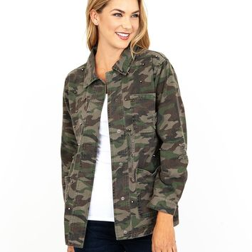 Birdie-Studded Jacket - Camouflage by Kut from the Kloth