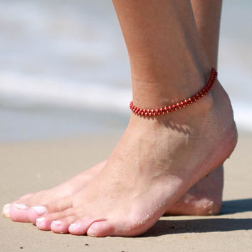 Red Anklet - Multistrand Ankle Bracelet - Gold Anklet - Foot Jewelry - Foot Bracelet - Chain Anklet - Summer Jewelry - Beach Jewelry