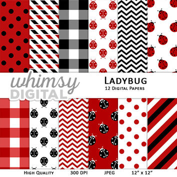 Ladybug Digital Paper with Ladybugs, Polka Dots, Chevron, Stripes, and Checkers in shades of Red, Black, and White