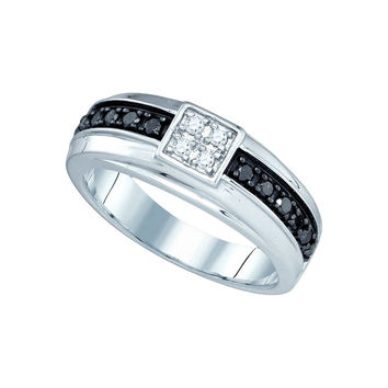 10k White Gold Mens Black Colored Diamond Wedding Anniversary Band Ring 3/8 Cttw 81409