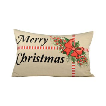 Holiday Package 26x16 Lumbar Pillow Sand,Black,Ribbon Red