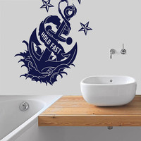Wall Decal Vinyl Sticker Decals Art Decor Design Sign Hold Fast Anchor Symbol Nautical Salior Ocean Sea Quote Living Room Bedroom (r417)