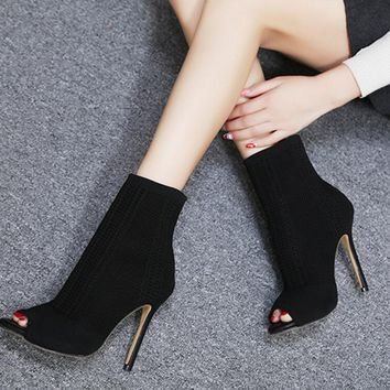 High Heel Ankle Sock Boots