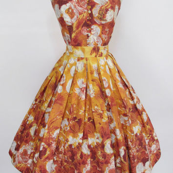 """BLACK FRIDAY SALE 1950's Vintage Fall Colors Yellow and Burnt Orange Cotton New Look Floral Dress 25"""" Waist"""