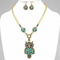 Pendant Owl Turquoise Necklace Gold