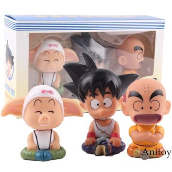 Action Figure Dragon Ball Z Child Son Goku Gokou Krillin Oolong Bobble Head Doll PVC Collectible Figurines Dragon Ball 3pcs/set
