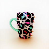 Meow – Coffee mug – tiffany blue handle – colorful leopard featuring goldspikes